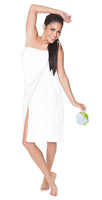 Resort Spa Wrap + Pouf Mesh Sponge~Women S-6X Queen Plus Size Cotton Velour Wrap