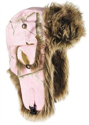 Realtree Mad Bomber Faux Fur Trapper Hat Pink Or Snow