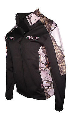 Pink Mossy Oak Jacket Womens Slimming Black Camo Accent Windproof Softshell Coat