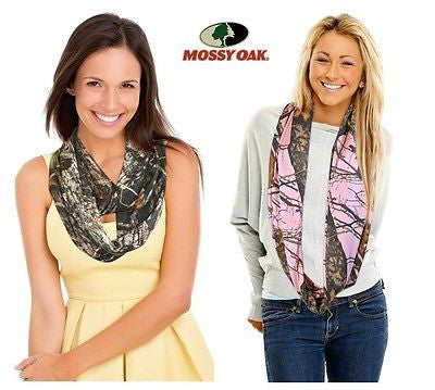 Pink Camo Infinity Scarf Mossy Oak Stretch Polyester Licensed Made USA OSFM S-2X