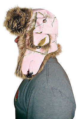 Mad Bomber Realtree Pink Trapper Faux Fur Canvas Hat Cap