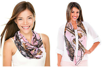Mossy Oak Infinity Pink Camo Scarf Chique Dress Fashion Loop Circle Huntress Country Girl Scarf