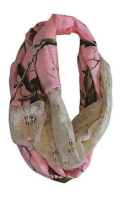 Pink Camo Infinity Scarf - Realtree Girl Chloe - Womens OSFM S-2X - Cotton & Lace