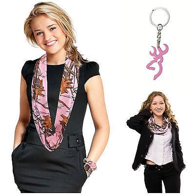 Browning Buckmark Keyring + Mossy Oak Pink Camo Infinity Scarf Free shipping Made in USA