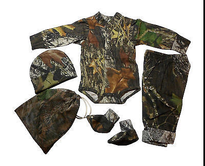 Mossy Oak Baby Outfit Infant Camo Newborn 4PC Gift Set Onesie Pant Hat Booties