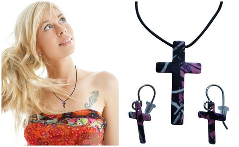 Muddy Girl Jewelry Necklace & Earring Set, Pink Camo Cross Pendant, Made in the USA