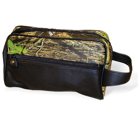 Mossy Oak Leather Travel Bag Shaving Toiletry Kit Tote