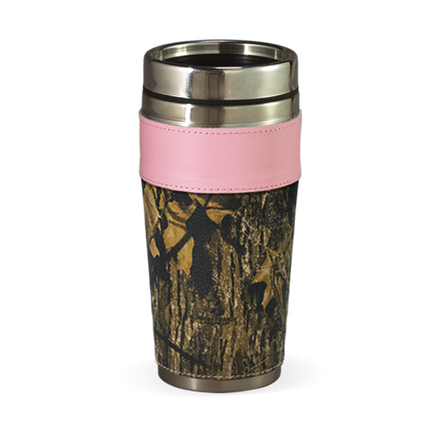 Mossy Oak Pink Leather Travel Cup Coffee Mug Webers Camo