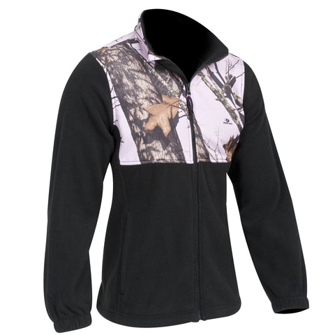 Mossy Oak Pink Fleece Jacket - Camo Accent/Black Casual Fleece Jacket Camo Chique