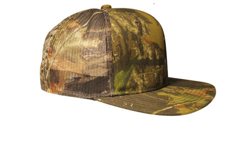 Mossy Oak Trucker Cap Mesh Back Flat or Curved Visor (Snapback Hat)