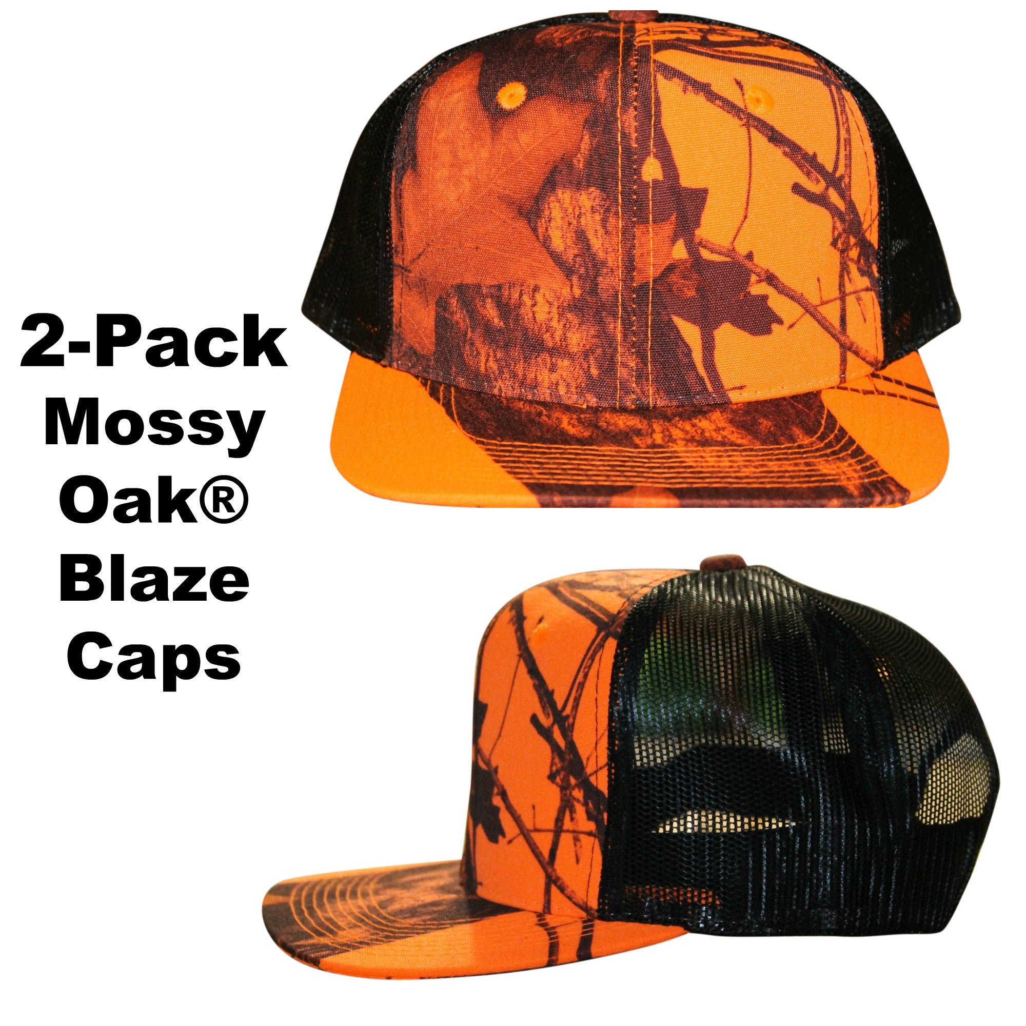 10946f4743a Mossy oak blaze caps two pack mesh snapback trucker hunters hat curved or flat  brim visor