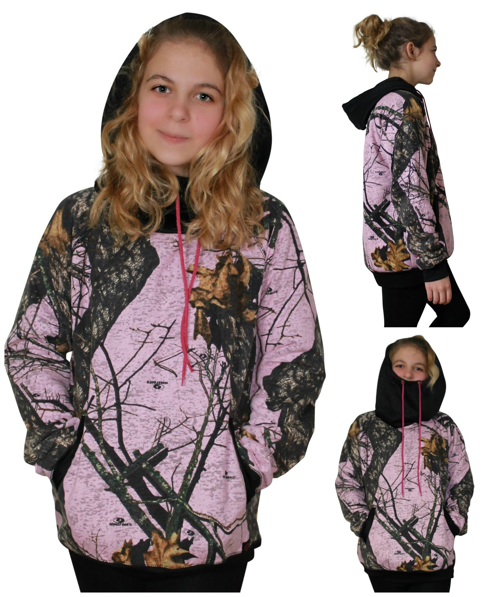 ef566cc0fa3 Pink Camo Hoodie Mossy Oak BURNOUT Pink Camouflage with Neck Gaiter Ho –  Camo Chique
