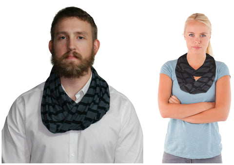 Bamboo Infinity Scarf Black Grey Stripe Yala ORGANIC Loop Circle Bamboodreams Eternity Neckscarf