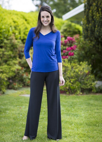 Black Bamboo Pants Yala BambooDreams SABRINA Wide Leg Yoga-Style Dress Pant