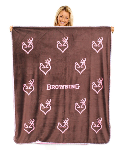 Browning Buckheart Throw Blanket Micro Mink Pink Sherpa Back Buckmark Deer Heart 50x60""