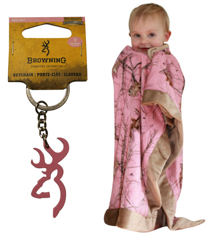 Browning Buckmark Keychain + Mossy Oak Pink Blanket 2PC Mom & Baby Set Country Girl Shower Gift