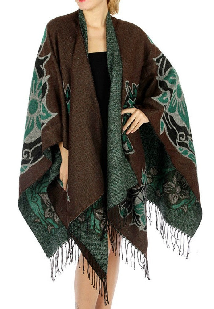 Turquoise Cross Ruana Cowgirl Poncho Wrap Country
