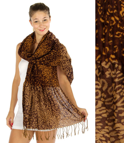 Leopard Print Fringe Scarf Extra Long Bell Bottom Wrap Acrylic Scarf 76x24""