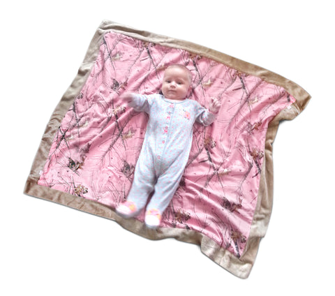 Carstens Mossy Oak Pink Camo Baby Blanket Faux Suede Country Baby Blanket