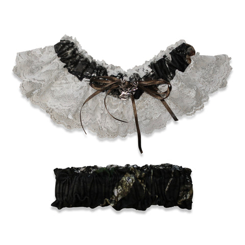 Mossy Oak Womens Garter~Lace with Deer Charm~Licensed Made in USA