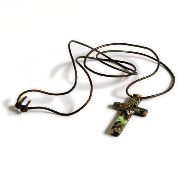 Mossy Oak Camo Cross Jewelry Unisex Pendant Necklace + Browning Blaze Buckmark Keyring