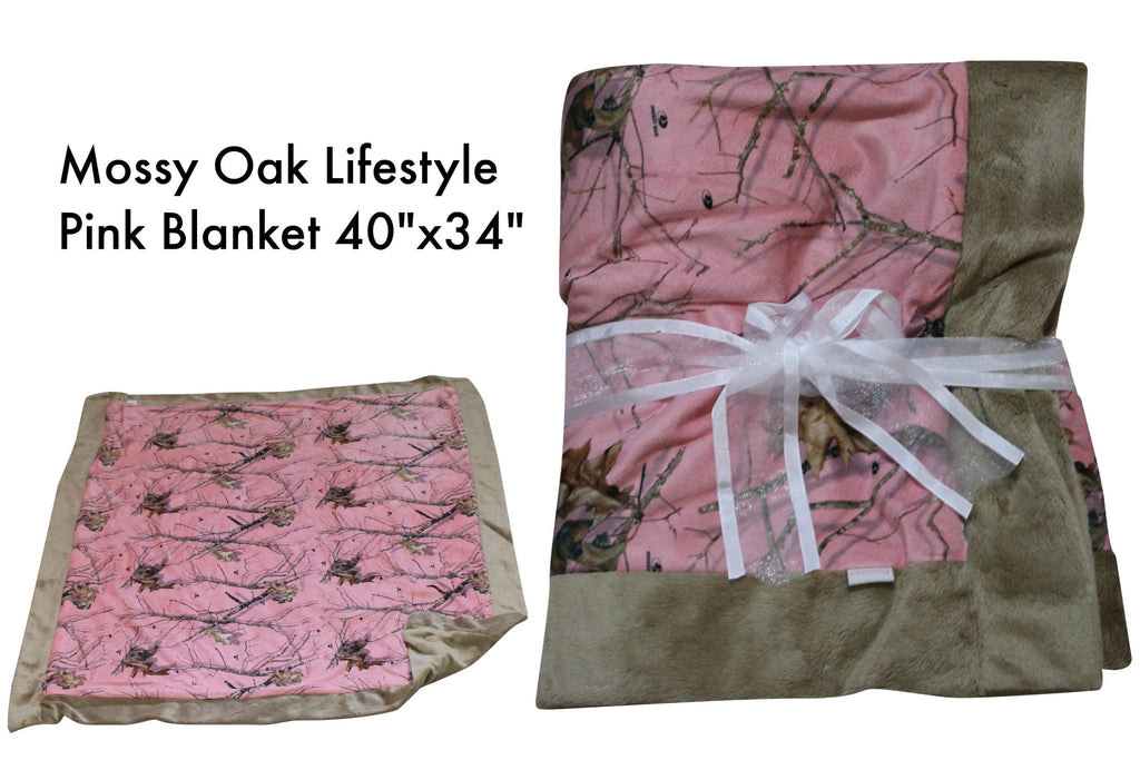 Carstens Mossy Oak Pink Camo Baby Blanket Faux Suede