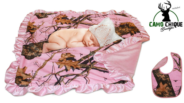 Pink Mossy Oak Blanket & Bib 2 PC Country Baby Girl Infant Gift Set Camo Chique Sale Free Shipping
