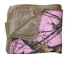 "Realtree Mossy Oak Pink Camo Blanket Faux Suede Throw 56x70"" Country Girl's Holiday Christmas Gift"