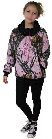 Pink Camo Hoodie Mossy Oak BURNOUT Pink Camouflage with Neck Gaiter/Hood Performance Fleece Sweatshirt