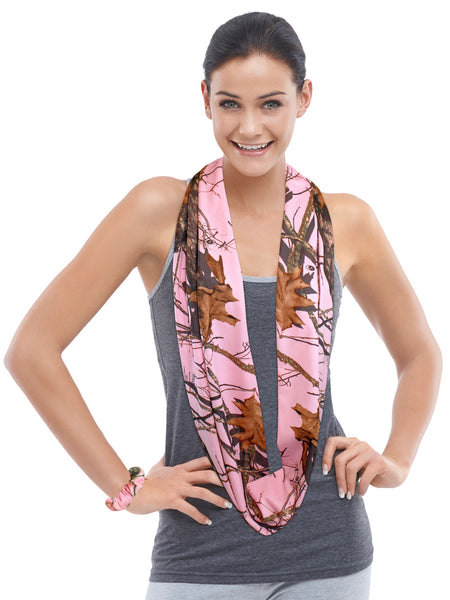 "Mossy Oak Pink Camo Infinity Scarf Womens Licensed MOBU, 62x10"" Circle Loop Eternity~ Made in USA"