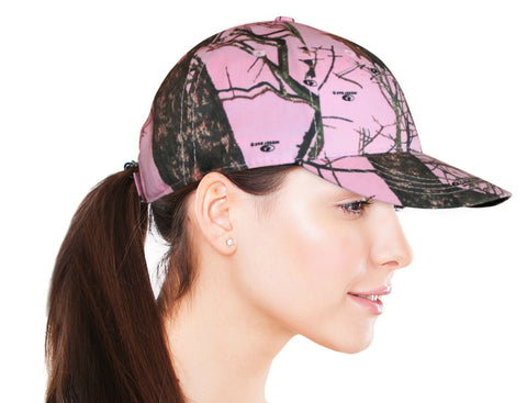 Mossy Oak Pink Cap Womens Velcro Ponytail Hole Hat Camo Chique Boutique Exclusive