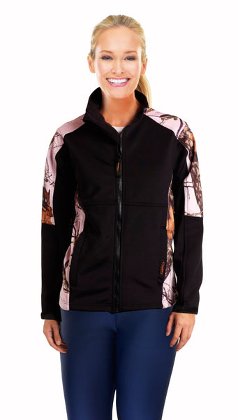 Mossy Oak Pink Jacket Womens Slimming Black Fleece Softshell Camo Accent