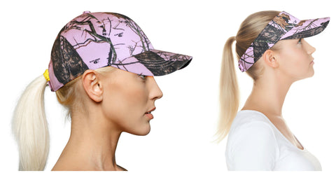Mossy Oak Pink Visor Cap Hat Break Up Pink Camo Adjustable Vecro Back 4 Ponytail