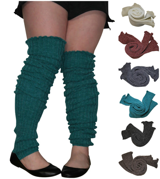 "Plus Size Leg Warmers Thigh High Over the Knee Slouch Super Extra Long 38"" Cable Knit Toe-Less Socks"
