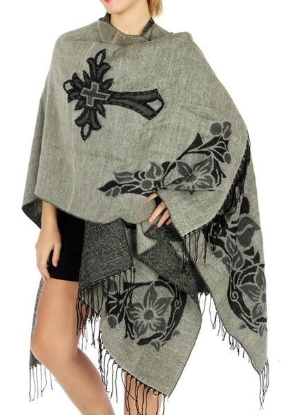 Grey Floral Cross Ruana Faux Wool Blanket Wrap Cloak Poncho Prayer Cloth Scarf - Camo Chique
