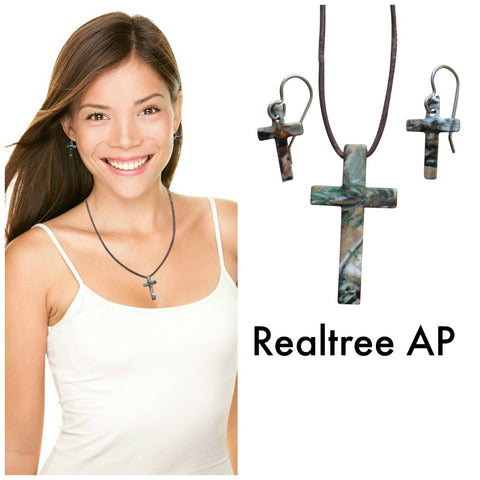 Realtree Pink Earring & Necklace Cross Jewelry Set