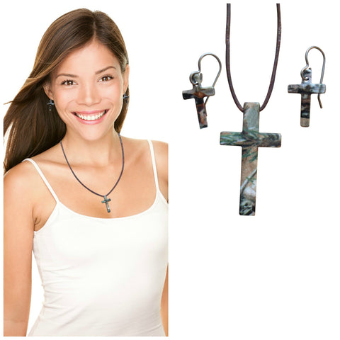 Realtree Jewelry Necklace & Earring Set, Camo Cross Pendant, Made in the USA