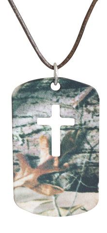 Mossy Oak Cross Jewelry Dog Tag Necklace Pendant - Realtree Muddy Girl