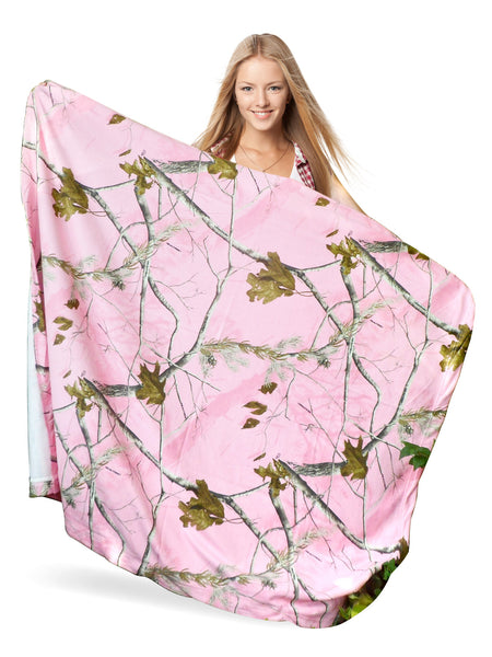 Realtree Pink Camo Throw Blanket Ladies Sweatshirt Fabric Light Wrap