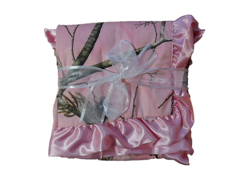 Realtree Pink Baby Blanket by Carstens - New Baby Gift - Infant Girl Pink Camo Blanket