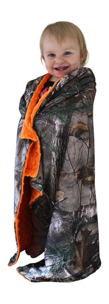 Realtree Camo Baby Blanket Minky Dot Blaze Orange or Tan Back Licensed Made in USA
