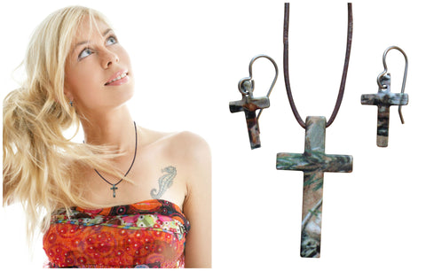 Realtree Earring & Necklace Cross Jewelry Set