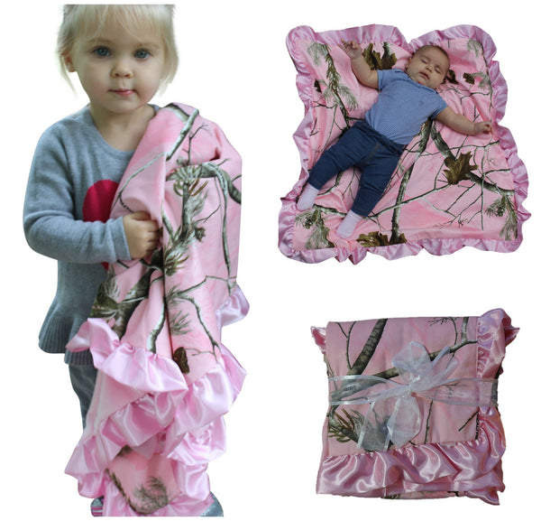 Realtree Pink Blanket Baby Newborn Camo Throw Satin Trim Minky Back Carstens 34x34