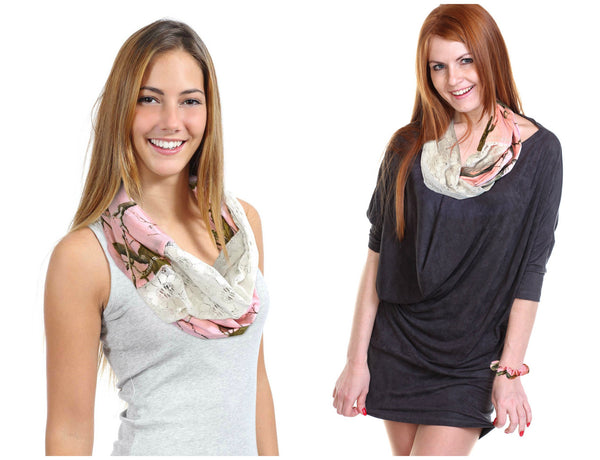 Realtree Girl Pink Chloe Infinity Scarf, Crinkle Cotton & Lace, RT AP Pink Camo or Sugar Coral