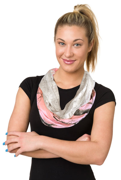 Realtree Girl Chloe Infinity Scarf, Real Tree Pink Camo or Sugar Coral, Camouflage Fashion Scarf