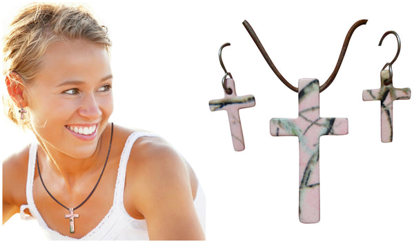 Realtree Pink Jewelry Necklace & Earring Set, Pink Camo Cross Pendant, Made in the USA