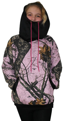 Pink Mossy Oak Hoodie Juniors Camouflage Hooded Burnout Sweatshirt with Built In Neck Gaiter Free Shipping Sale