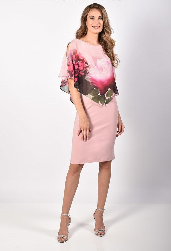 Floral Pink Chiffon Layered Dress 218264