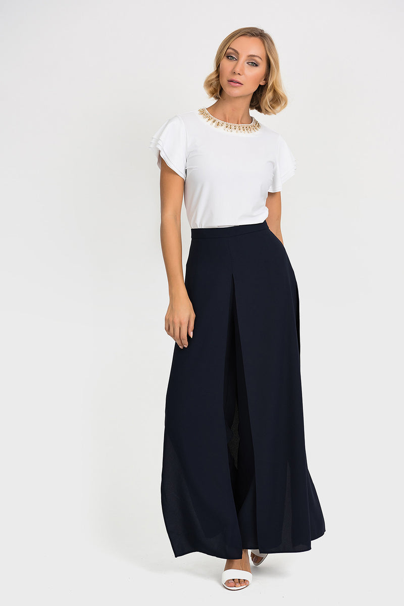 Flared Chiffon Pant in Midnight 192296