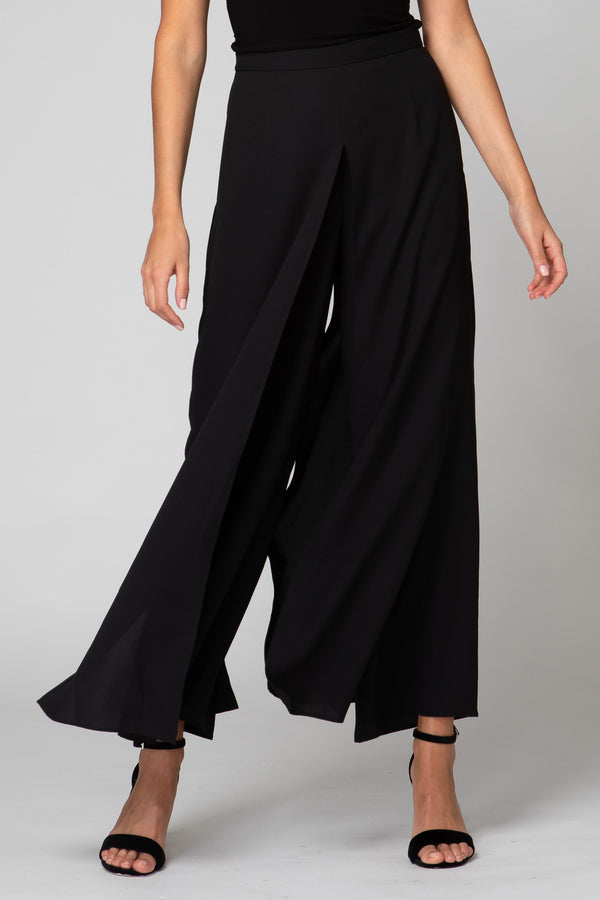 Flared Chiffon Pant in Black 192296